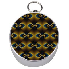 Fractal Multicolored Background Silver Compasses