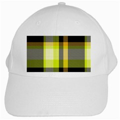 Tartan Pattern Background Fabric Design White Cap