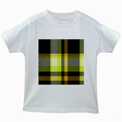 Tartan Pattern Background Fabric Design Kids White T-Shirts