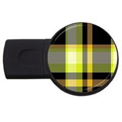 Tartan Pattern Background Fabric Design Usb Flash Drive Round (2 Gb)