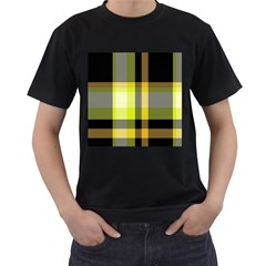 Tartan Pattern Background Fabric Design Men s T-Shirt (Black) (Two Sided)