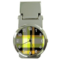 Tartan Pattern Background Fabric Design Money Clip Watches