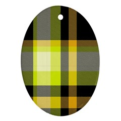 Tartan Pattern Background Fabric Design Oval Ornament (two Sides)