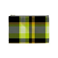 Tartan Pattern Background Fabric Design Cosmetic Bag (medium)