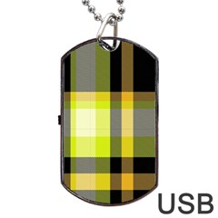 Tartan Pattern Background Fabric Design Dog Tag USB Flash (Two Sides)