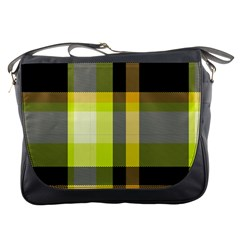 Tartan Pattern Background Fabric Design Messenger Bags
