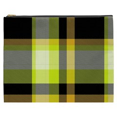 Tartan Pattern Background Fabric Design Cosmetic Bag (XXXL)