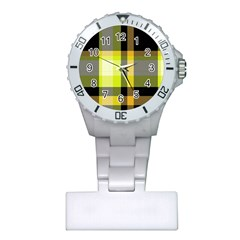 Tartan Pattern Background Fabric Design Plastic Nurses Watch