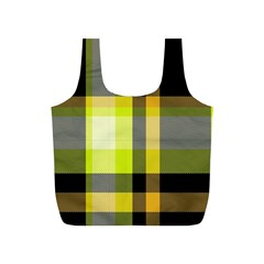 Tartan Pattern Background Fabric Design Full Print Recycle Bags (S)