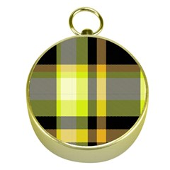 Tartan Pattern Background Fabric Design Gold Compasses