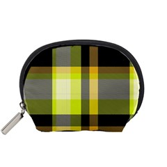 Tartan Pattern Background Fabric Design Accessory Pouches (Small)