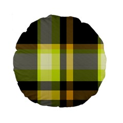 Tartan Pattern Background Fabric Design Standard 15  Premium Flano Round Cushions