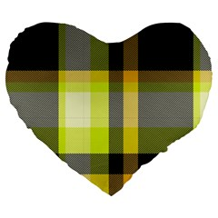 Tartan Pattern Background Fabric Design Large 19  Premium Flano Heart Shape Cushions