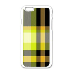 Tartan Pattern Background Fabric Design Apple iPhone 6/6S White Enamel Case