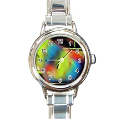 Punctulated Colorful Ground Noise Nervous Sorcery Sight Screen Pattern Round Italian Charm Watch