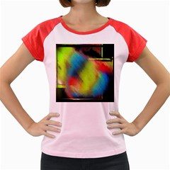 Punctulated Colorful Ground Noise Nervous Sorcery Sight Screen Pattern Women s Cap Sleeve T-Shirt