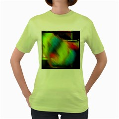 Punctulated Colorful Ground Noise Nervous Sorcery Sight Screen Pattern Women s Green T Shirt
