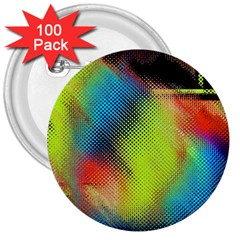 Punctulated Colorful Ground Noise Nervous Sorcery Sight Screen Pattern 3  Buttons (100 pack)