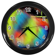 Punctulated Colorful Ground Noise Nervous Sorcery Sight Screen Pattern Wall Clocks (black)