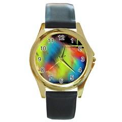 Punctulated Colorful Ground Noise Nervous Sorcery Sight Screen Pattern Round Gold Metal Watch