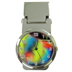 Punctulated Colorful Ground Noise Nervous Sorcery Sight Screen Pattern Money Clip Watches