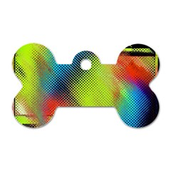 Punctulated Colorful Ground Noise Nervous Sorcery Sight Screen Pattern Dog Tag Bone (one Side)
