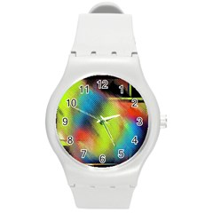 Punctulated Colorful Ground Noise Nervous Sorcery Sight Screen Pattern Round Plastic Sport Watch (M)