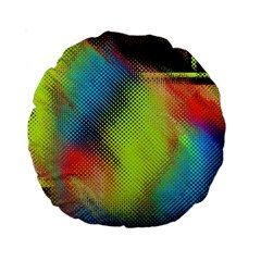 Punctulated Colorful Ground Noise Nervous Sorcery Sight Screen Pattern Standard 15  Premium Round Cushions