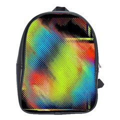 Punctulated Colorful Ground Noise Nervous Sorcery Sight Screen Pattern School Bags (XL)