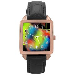 Punctulated Colorful Ground Noise Nervous Sorcery Sight Screen Pattern Rose Gold Leather Watch