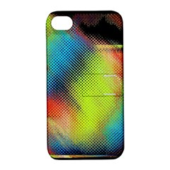 Punctulated Colorful Ground Noise Nervous Sorcery Sight Screen Pattern Apple iPhone 4/4S Hardshell Case with Stand