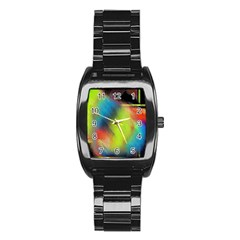 Punctulated Colorful Ground Noise Nervous Sorcery Sight Screen Pattern Stainless Steel Barrel Watch