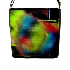 Punctulated Colorful Ground Noise Nervous Sorcery Sight Screen Pattern Flap Messenger Bag (L)
