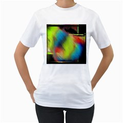 Punctulated Colorful Ground Noise Nervous Sorcery Sight Screen Pattern Women s T-Shirt (White)
