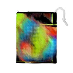 Punctulated Colorful Ground Noise Nervous Sorcery Sight Screen Pattern Drawstring Pouches (Large)