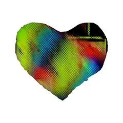 Punctulated Colorful Ground Noise Nervous Sorcery Sight Screen Pattern Standard 16  Premium Flano Heart Shape Cushions