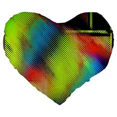 Punctulated Colorful Ground Noise Nervous Sorcery Sight Screen Pattern Large 19  Premium Flano Heart Shape Cushions