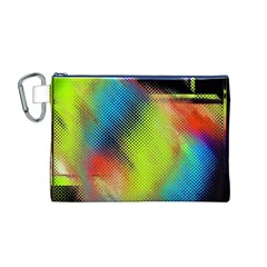 Punctulated Colorful Ground Noise Nervous Sorcery Sight Screen Pattern Canvas Cosmetic Bag (m)