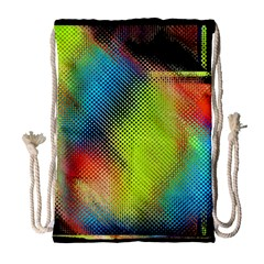 Punctulated Colorful Ground Noise Nervous Sorcery Sight Screen Pattern Drawstring Bag (Large)