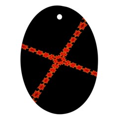 Red Fractal Cross Digital Computer Graphic Ornament (Oval)
