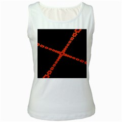 Red Fractal Cross Digital Computer Graphic Women s White Tank Top