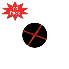 Red Fractal Cross Digital Computer Graphic 1  Mini Buttons (100 pack)