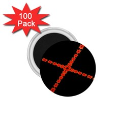 Red Fractal Cross Digital Computer Graphic 1.75  Magnets (100 pack)