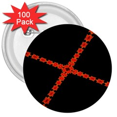 Red Fractal Cross Digital Computer Graphic 3  Buttons (100 Pack)