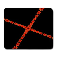 Red Fractal Cross Digital Computer Graphic Large Mousepads