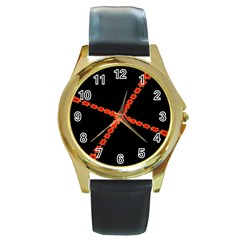Red Fractal Cross Digital Computer Graphic Round Gold Metal Watch