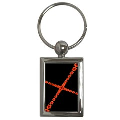 Red Fractal Cross Digital Computer Graphic Key Chains (Rectangle)