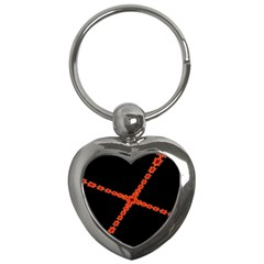 Red Fractal Cross Digital Computer Graphic Key Chains (Heart)