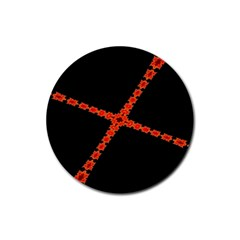 Red Fractal Cross Digital Computer Graphic Rubber Coaster (Round)