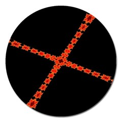 Red Fractal Cross Digital Computer Graphic Magnet 5  (Round)
